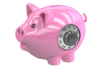 piggy bank with safe lock, 3D rendering