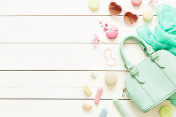 Pastel fashion accessories for girls on white Wall mural
