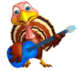 Turkey  cartoon character with guitar