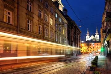 Street with tracks headlights