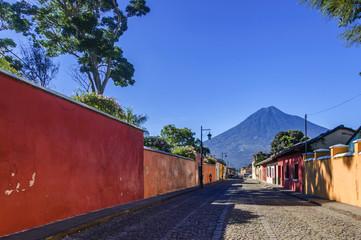 Agua volcano & colonial street, Antigua, Guatemala