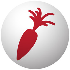Red Carrot icon on white ball