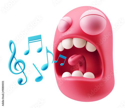 Sing Music Notes Emoji Cartoon    3d Rendering