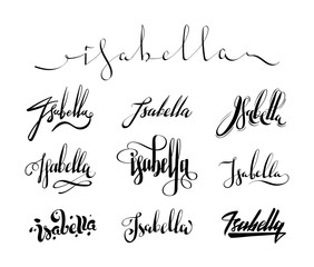 Personal name Isabella. Vector handwritten calligraphy set. Handmade lettering collection