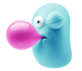 Bubblegum Emoticon Character Face Expression. 3d Rendering.
