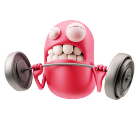 Fitness Emoticon Character Face Expression. 3d Rendering.