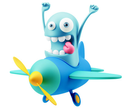 Travel Airplane Flight Emoji Cartoon.  3d Rendering.