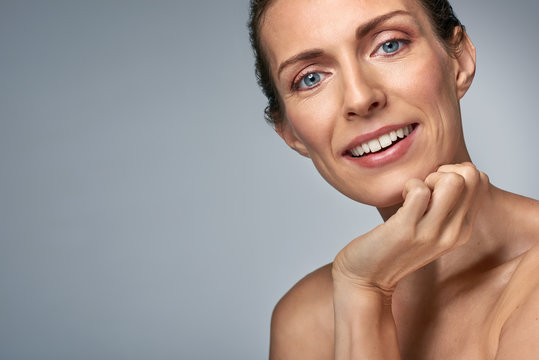 Beautiful mature woman with clear skin