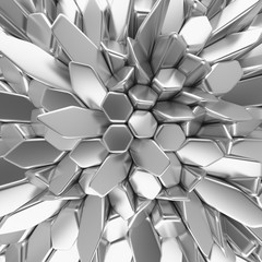 Chrome abstract hexagons backdrop. 3d rendering geometric polygons