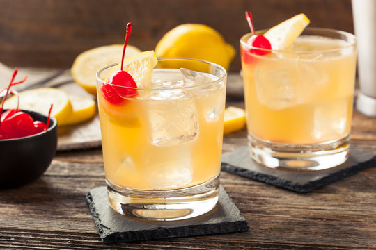 Homemade Whiskey Sour Cocktail Drink