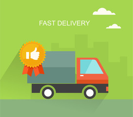 Fast delivery flat illustration