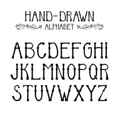 hand drawn English alphabet font