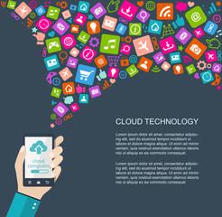 Cloud technology flat illustration