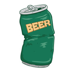 Broken Beer Can With Green Color And Doodle Or Sketchy Style