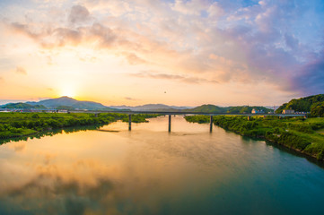 四万十川の夕陽