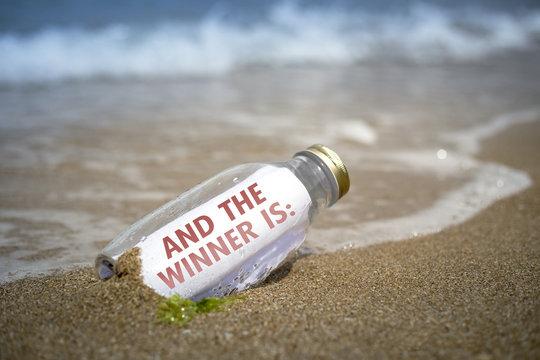 Winner announce list in a bottle