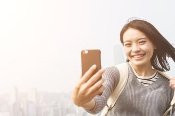 woman take a selfie