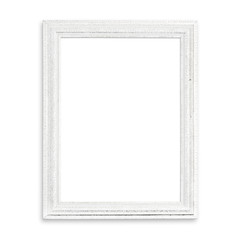 Old White blank picture frame isolated on white background.