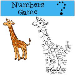 Numbers game. Little cute giraffe.