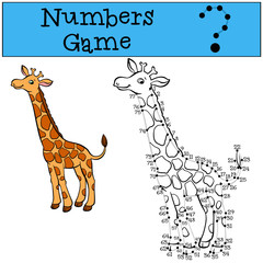 Numbers game with contour. Little cute giraffe.