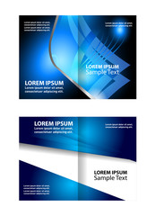 Vector white brochure template design with blue waves. EPS 10