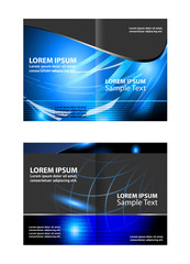 Vector empty brochure template design with bright green and blue elements