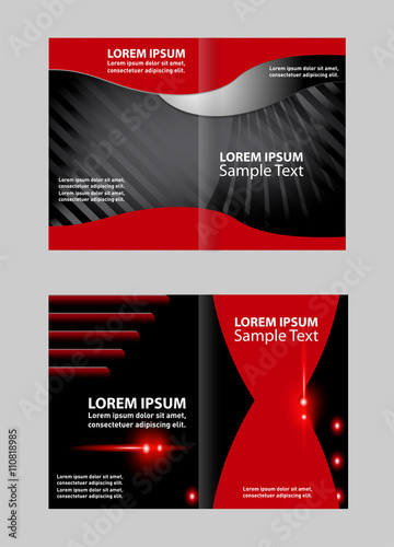 empty bi fold brochure template design with red color booklet