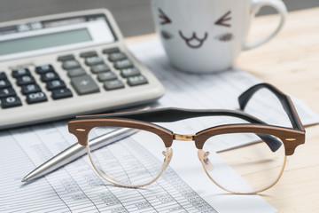 Glasses on the desk