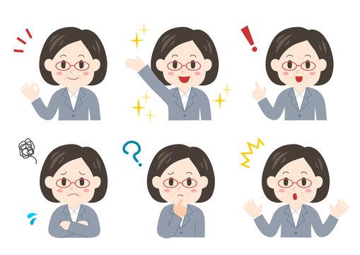 中年 女性 ビジネスウーマン 表情 ポーズ セット