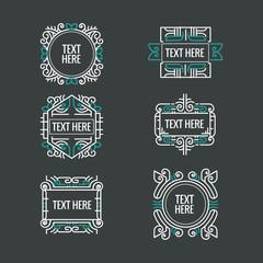 classic art deco luxury minimal hipster geometric vintage vector monogram, frame , border, badge, label, crest, or Vintage Insignias, vector design elements, business signs, identity