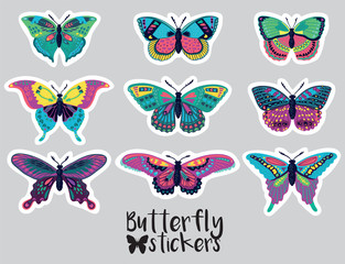 Sticker set of butterflies decorative silhouettes in cartoon style