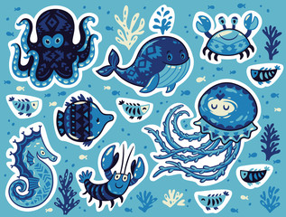 Sticker set of ocean animals in cartoon style