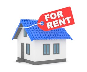 Miniature model of house real estate for rent label on white background. 3D rendering.