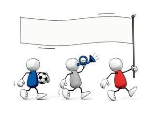 little sketchy men running with a flag - soccer