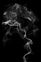 White smoke, isolated on black background.