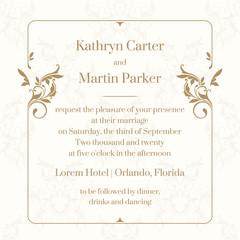 Floral frame. Wedding invitation. Design classic cards.