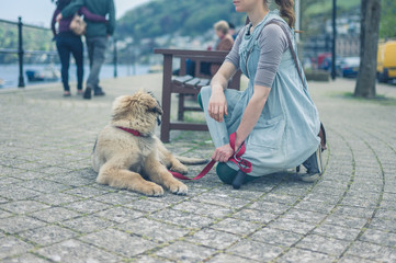 Yyoung woman sitting in street with her puppy