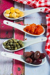 Olives, Capers ,Lupin Beans and chopped tomatoes
