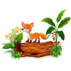 Cartoon fox on tree trunk