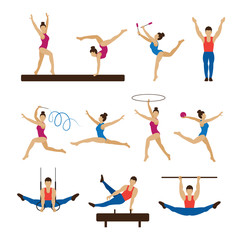 Gymnastics Athletes, Men and Women Set, Athletics, Games, Action, People