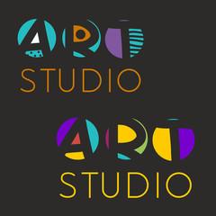 Logo design template for art studio, gallery, school of the arts. Creative art logo set. Vector illustration.