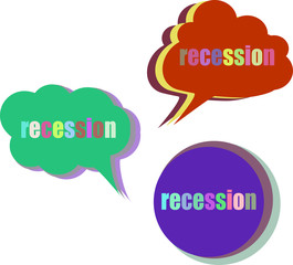 recession. Set of stickers, labels, tags. Template for infographics. Icon set. Icon flat. Vector illustration