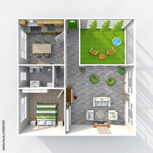 3d Interior Rendering Plan View Of Furnished Home Apartment With Green Patio Room Bathroom