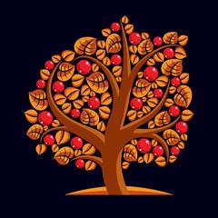 Tree with ripe apples, harvest season theme illustration. Fruits