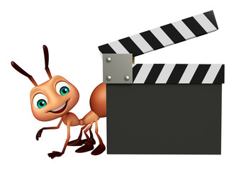 fun Ant cartoon character with clapper board