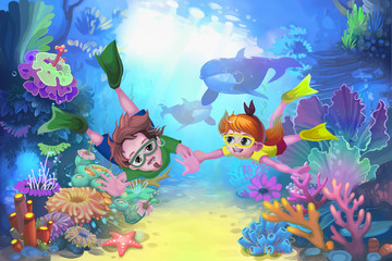 Creative Illustration and Innovative Art: Happy Father's Day in the Sea. Realistic Fantastic Cartoon Style Character, Story, Card Design