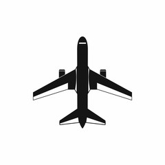 Military fighter jet icon, simple style