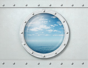Wall Mural - ship porthole or window with sea and horizon 3d illustration