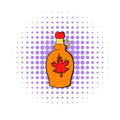 Bottle of maple syrup icon, comics style