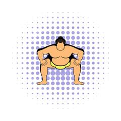 Sumo wrestler icon, comics style